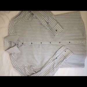 GUCCI button down shirt 40 15.5 White Blue Stripe